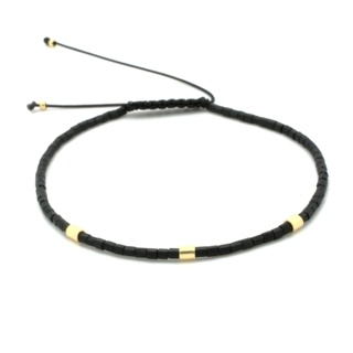 Handmade Black & Gold Plated Beaded Adjustable Bracelet
