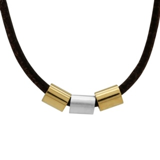 Soft Brown Leather Necklace with Gold Titanium & Silver Beads