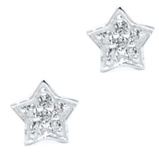 925 Silver Cubic Zirconia Crystal Star Earrings