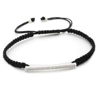 Crystal Bar Black Friendship Bracelet