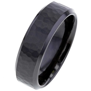 Black Zirconium Ring with Hammered Effect
