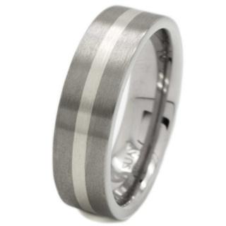 Flat Profile Titanium & Silver Ring