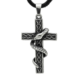 Stainless Steel Snake & Cross Necklace