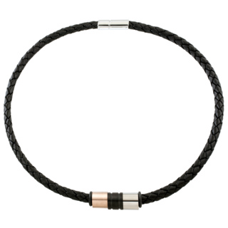 6mm Woven Black Leather Necklace with Multi Coloured Titanium Beads