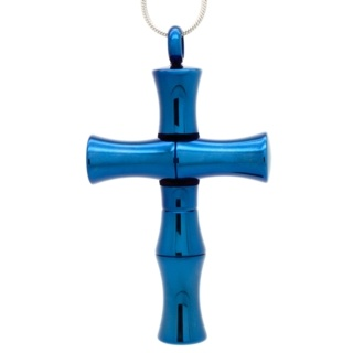 Blue Stainless Steel Cross with Secret Chamber and Spoon
