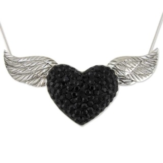 Silver Jet Masquerade Crystal Necklace