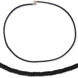 Woven Black Leather & Silver Necklace