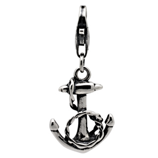 Silver Anchor & Rope Clip on Charm