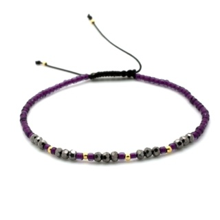 Handmade Purple Crystal & Gold Plated Beaded Adjustable Bracelet