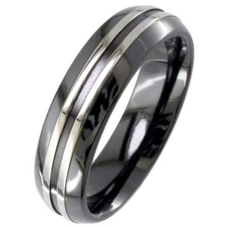Two Tone Dome Profile Zirconium Ring