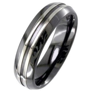 Two Tone Dome Profile Zirconium Ring