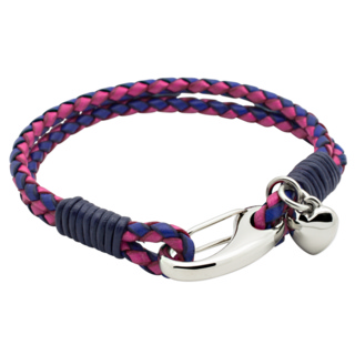 Woven Two Tone Pink Bracelet with Heart Charm