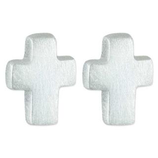 Silver Cross Mini Earrings