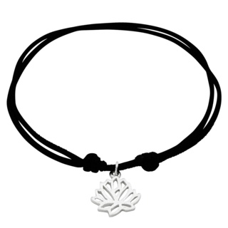 Adjustable Silver Lotus Flower Bracelet