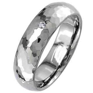 Hammered Titanium Diamond Wedding Ring