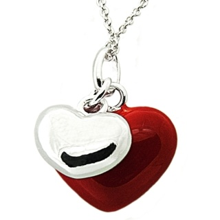 Silver & Red Enamel Two Heart Pendant