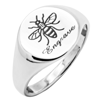 Personalised 925 Silver Manchester Bee Signet Ring