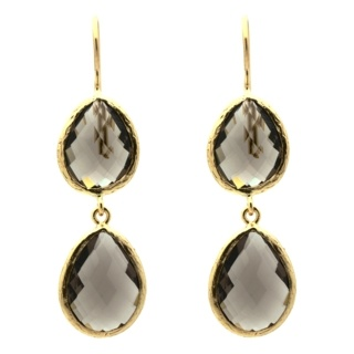 Gold Plated Smokey Quartz Double Drop Earrings