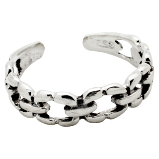 Silver Interlinking Chain Toe Ring