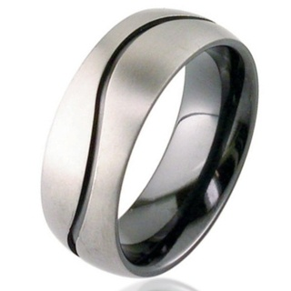 Dome Profile Two Tone Zirconium Wedding Ring with Wave Detail
