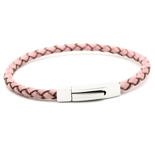 Woven Pink Leather Bracelet with Steel Clasp