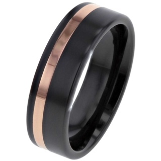 Black Zirconium Wedding Ring with Rose Gold Inlay