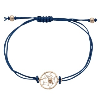 925 Silver Rose Gold Dreamcatcher Macrame Blue Bracelet