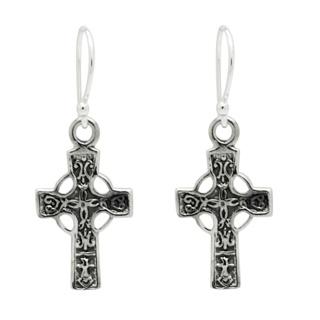 925 Silver Drop Celtic Cross Earrings