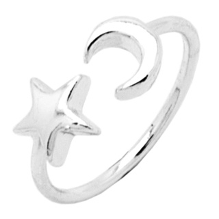 Silver Plated Moon & Star Ring