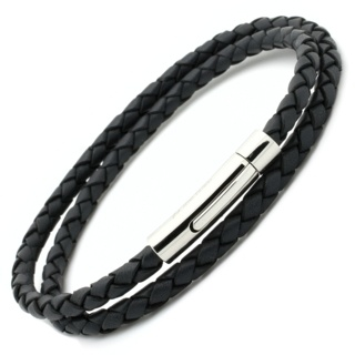 Dark Grey Woven Double Wrap Leather Bracelet