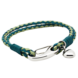Woven Two Tone Blue Leather Bracelet with Heart Charm