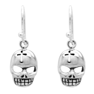 925 Silver Skull Drop Earrings