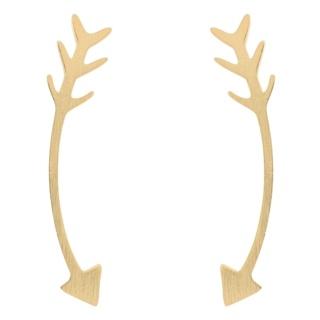 Gold Curved Arrow Climber Earrings