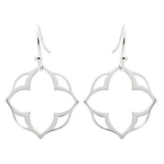 Silver Plated Lotus Flower Drop Earrings