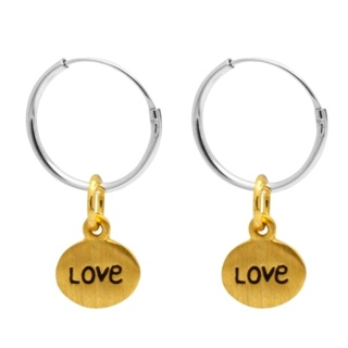 Silver Hoop Earrings with Gold Love Charm