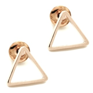 Rose Gold Polished Triangle Stud Earrings