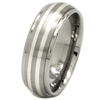 Double Inlay Titanium & Silver Ring