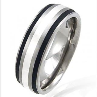 Division Titanium & Silver Ring
