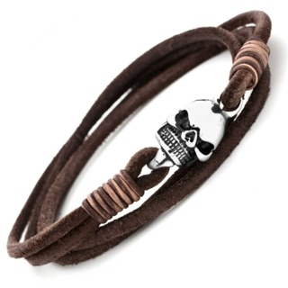 Double Wrap Brown Leather Skull Bracelet