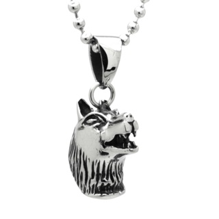 Stainless Steel Wolves Head Necklace