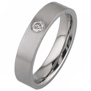 Flat Diamond Set Titanium Wedding Ring