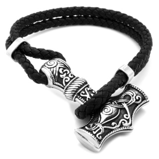 Stainless Steel Thors Hammer Leather Bracelet
