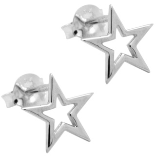 Polished 925 Silver Cut Out Star Earrings