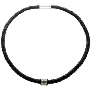 Woven Black Leather Necklace with a Concave Satin Indented Bead