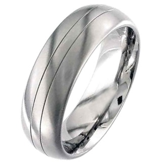 High Polished Dome Profile Grooved Titanium Ring