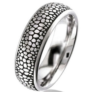 Dome Profile Titanium Wedding Ring with Stingray Pattern