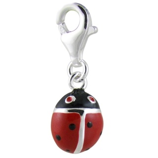 Silver Clip On Red & Black Enamel Ladybird Charm