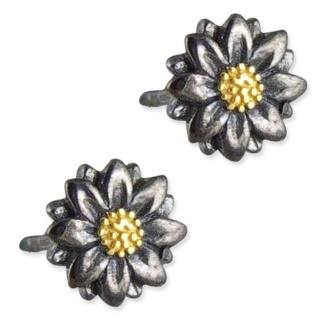 Arianna Ebony & Gold Flower Earrings
