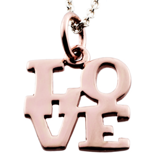 Polished Rose Gold Love Charm Necklace