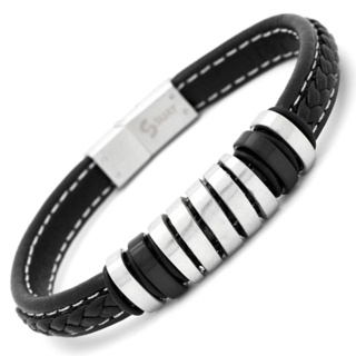 Black Leather Bracelet with Central Contrasting Feature